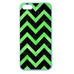 Chevron9 Black Marble & Green Watercolor Apple Seamless Iphone 5 Case (color)