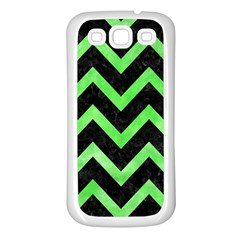 Chevron9 Black Marble & Green Watercolor Samsung Galaxy S3 Back Case (white)