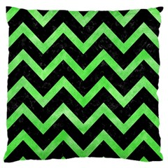 Chevron9 Black Marble & Green Watercolor Standard Flano Cushion Case (one Side)