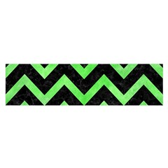 Chevron9 Black Marble & Green Watercolor Satin Scarf (oblong)