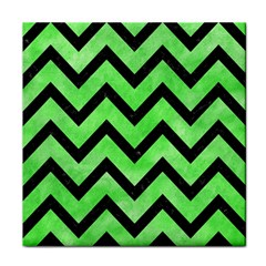Chevron9 Black Marble & Green Watercolor (r) Tile Coasters