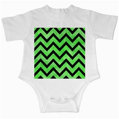 Chevron9 Black Marble & Green Watercolor (r) Infant Creepers