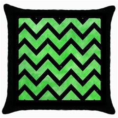 Chevron9 Black Marble & Green Watercolor (r) Throw Pillow Case (black)
