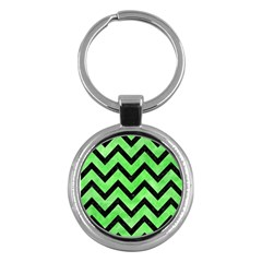 Chevron9 Black Marble & Green Watercolor (r) Key Chains (round)