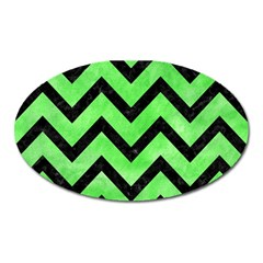 Chevron9 Black Marble & Green Watercolor (r) Oval Magnet