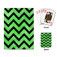 Chevron9 Black Marble & Green Watercolor (r) Playing Card