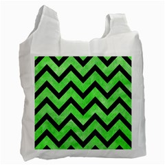 Chevron9 Black Marble & Green Watercolor (r) Recycle Bag (two Side)