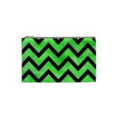Chevron9 Black Marble & Green Watercolor (r) Cosmetic Bag (small)