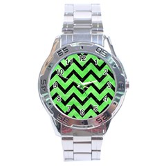Chevron9 Black Marble & Green Watercolor (r) Stainless Steel Analogue Watch