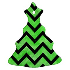 Chevron9 Black Marble & Green Watercolor (r) Christmas Tree Ornament (two Sides)