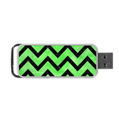 Chevron9 Black Marble & Green Watercolor (r) Portable Usb Flash (one Side)