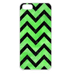 Chevron9 Black Marble & Green Watercolor (r) Apple Iphone 5 Seamless Case (white)