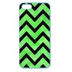 Chevron9 Black Marble & Green Watercolor (r) Apple Seamless Iphone 5 Case (color)