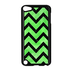 Chevron9 Black Marble & Green Watercolor (r) Apple Ipod Touch 5 Case (black)