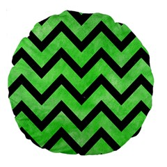Chevron9 Black Marble & Green Watercolor (r) Large 18  Premium Round Cushions