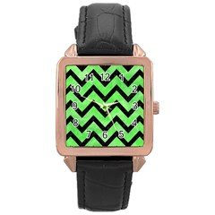Chevron9 Black Marble & Green Watercolor (r) Rose Gold Leather Watch