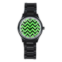 Chevron9 Black Marble & Green Watercolor (r) Stainless Steel Round Watch