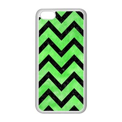 Chevron9 Black Marble & Green Watercolor (r) Apple Iphone 5c Seamless Case (white)