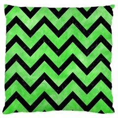 Chevron9 Black Marble & Green Watercolor (r) Standard Flano Cushion Case (one Side)