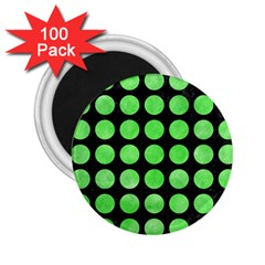 Circles1 Black Marble & Green Watercolor 2 25  Magnets (100 Pack)