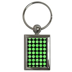 Circles1 Black Marble & Green Watercolor Key Chains (rectangle)