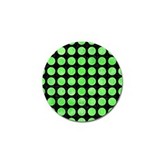 Circles1 Black Marble & Green Watercolor Golf Ball Marker (4 Pack)