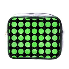 Circles1 Black Marble & Green Watercolor Mini Toiletries Bags