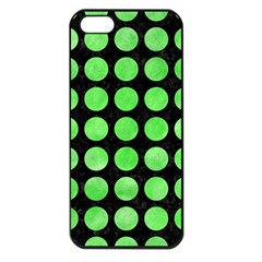 Circles1 Black Marble & Green Watercolor Apple Iphone 5 Seamless Case (black)