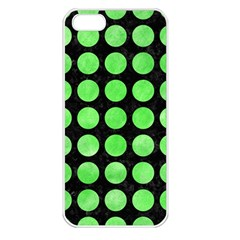 Circles1 Black Marble & Green Watercolor Apple Iphone 5 Seamless Case (white)