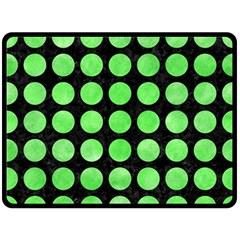 Circles1 Black Marble & Green Watercolor Double Sided Fleece Blanket (large)
