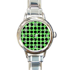 Circles1 Black Marble & Green Watercolor (r) Round Italian Charm Watch