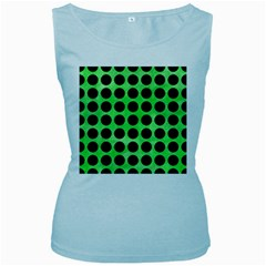 Circles1 Black Marble & Green Watercolor (r) Women s Baby Blue Tank Top