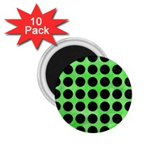 Circles1 Black Marble & Green Watercolor (r) 1 75  Magnets (10 Pack)