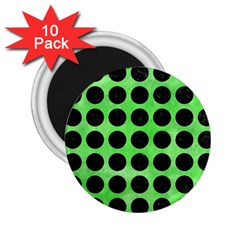 Circles1 Black Marble & Green Watercolor (r) 2 25  Magnets (10 Pack)