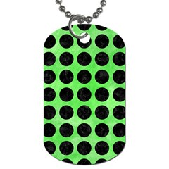 Circles1 Black Marble & Green Watercolor (r) Dog Tag (two Sides)