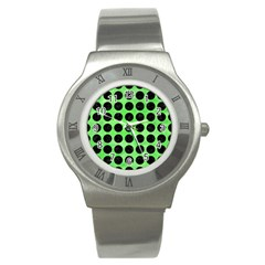 Circles1 Black Marble & Green Watercolor (r) Stainless Steel Watch