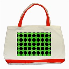 Circles1 Black Marble & Green Watercolor (r) Classic Tote Bag (red)