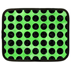 Circles1 Black Marble & Green Watercolor (r) Netbook Case (xl)