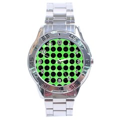 Circles1 Black Marble & Green Watercolor (r) Stainless Steel Analogue Watch