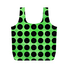 Circles1 Black Marble & Green Watercolor (r) Full Print Recycle Bags (m)