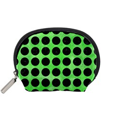 Circles1 Black Marble & Green Watercolor (r) Accessory Pouches (small)