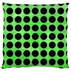 Circles1 Black Marble & Green Watercolor (r) Large Flano Cushion Case (one Side)