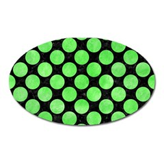 Circles2 Black Marble & Green Watercolor Oval Magnet