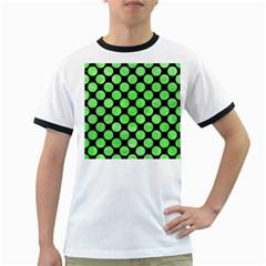 Circles2 Black Marble & Green Watercolor Ringer T Shirts