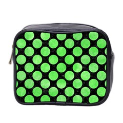 Circles2 Black Marble & Green Watercolor Mini Toiletries Bag 2 Side