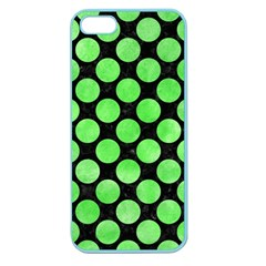 Circles2 Black Marble & Green Watercolor Apple Seamless Iphone 5 Case (color)