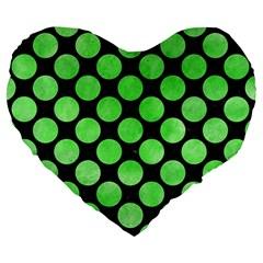 Circles2 Black Marble & Green Watercolor Large 19  Premium Heart Shape Cushions
