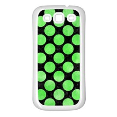 Circles2 Black Marble & Green Watercolor Samsung Galaxy S3 Back Case (white)