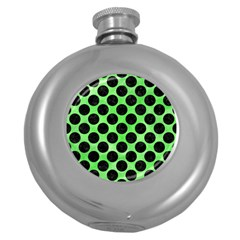 Circles2 Black Marble & Green Watercolor (r) Round Hip Flask (5 Oz)