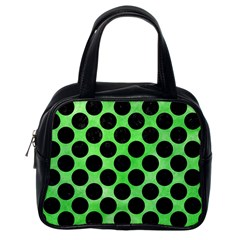 Circles2 Black Marble & Green Watercolor (r) Classic Handbags (one Side)